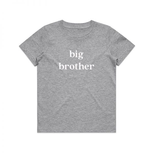 Coda Design Studio - Personalised Clothing for the Whole Family - Kids Tee Grey Marle Big Brother