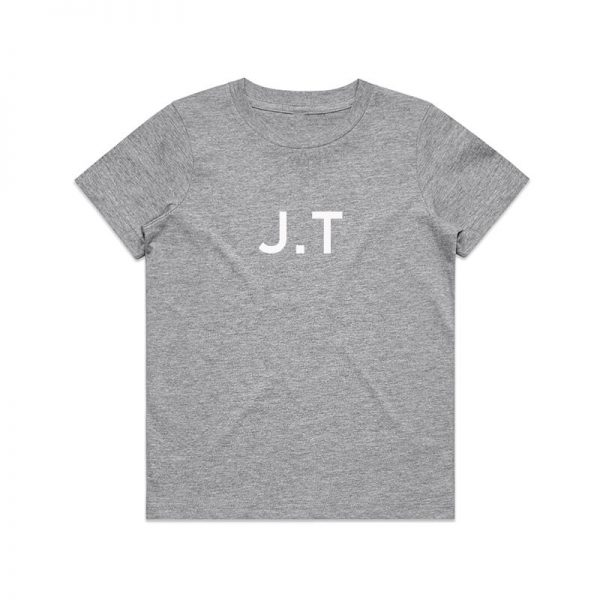 Coda Design Studio - Personalised Clothing for the Whole Family - Kids Tee Grey Marle Initial Name