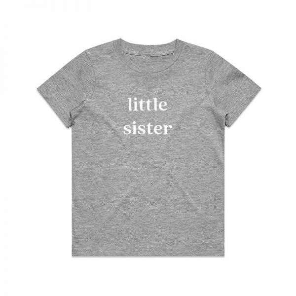 Coda Design Studio - Personalised Clothing for the Whole Family - Kids Tee Grey Marle Little Sister