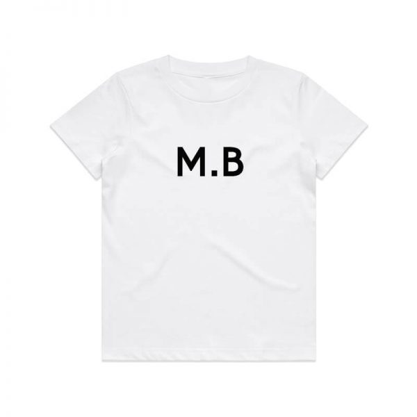 Coda Design Studio - Personalised Clothing for the Whole Family - Kids Tee White Initial Name