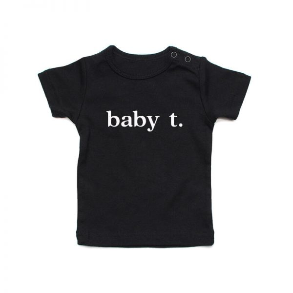 Coda Design Studio - Personalised Clothing for the Whole Family - Baby Tee Black Baby Letter Name
