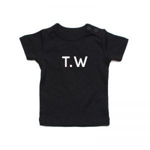 Coda Design Studio - Personalised Clothing for the Whole Family - Baby Tee Black Initial Name