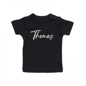 Coda Design Studio - Personalised Clothing for the Whole Family - Baby Tee Black Script Name