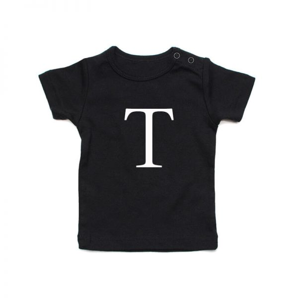 Coda Design Studio - Personalised Clothing for the Whole Family - Baby Tee Black Big Letter Name
