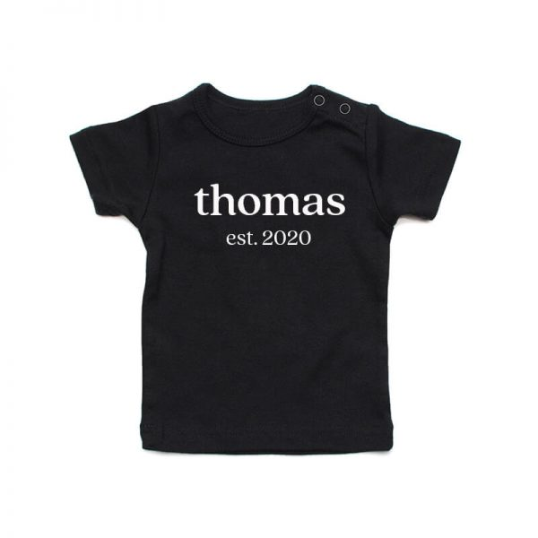 Coda Design Studio - Personalised Clothing for the Whole Family - Baby Tee Black Classic Name Est Year Born