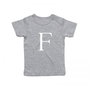 Coda Design Studio - Personalised Clothing for the Whole Family - Baby Tee Grey Marle Big Letter Name