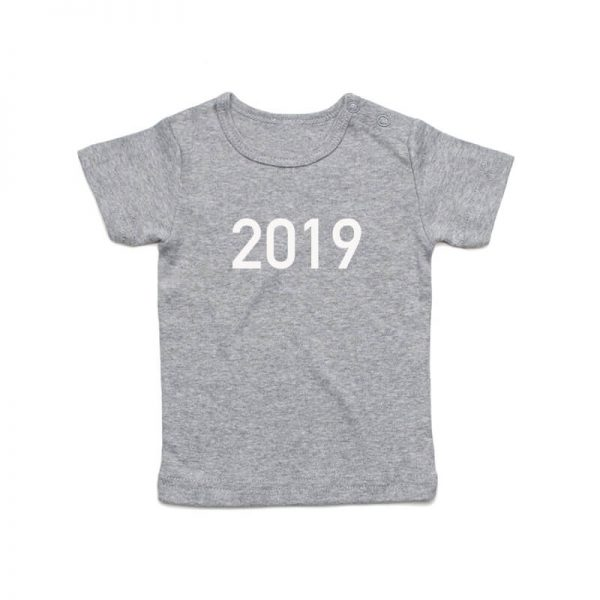 Coda Design Studio - Personalised Clothing for the Whole Family - Baby Tee Grey Marle Year Born