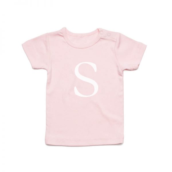 Coda Design Studio - Personalised Clothing for the Whole Family - Baby Tee Pink Big Letter Name