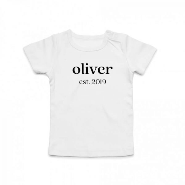 Coda Design Studio - Personalised Clothing for the Whole Family - Baby Tee White Classic Name Est Year Born