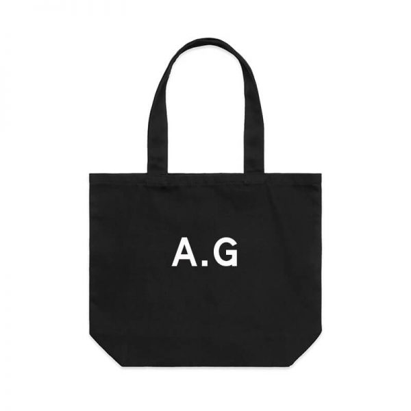 Coda Design Studio - Personalised Clothing & Accessories for the Whole Family - Cotton Canvas Tote Bag The Initial Tote Black