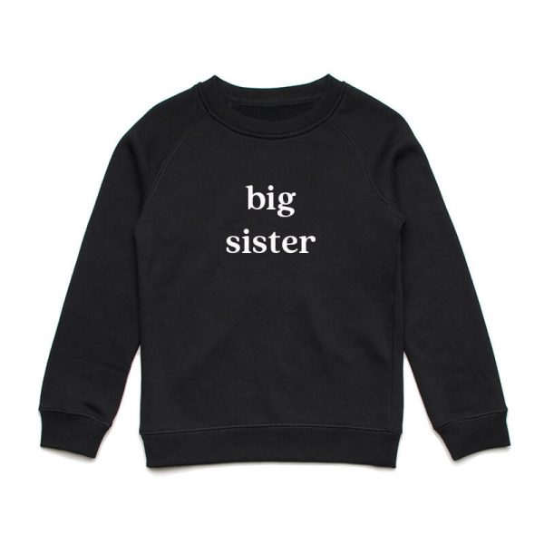 Coda Design Studio - Personalised Clothing for the Whole Family - Kids Jumper Black Big Sister