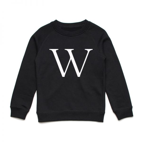 Coda Design Studio - Personalised Clothing for the Whole Family - Kids Jumper Black Letter Name