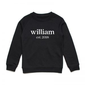 Coda Design Studio - Personalised Clothing for the Whole Family - Kids Jumper Black Classic Name Est Year Born