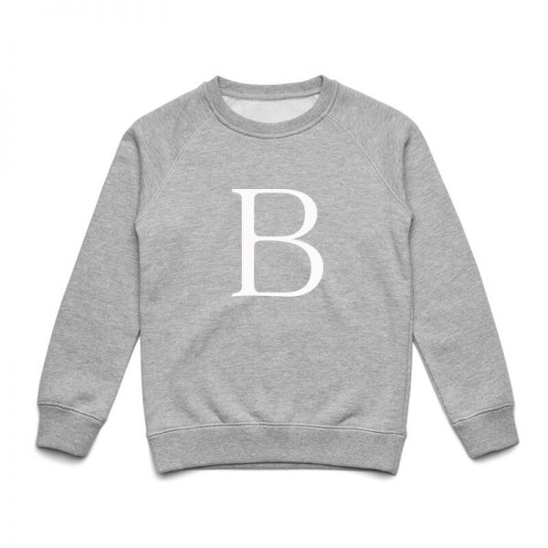 Coda Design Studio - Personalised Clothing for the Whole Family - Kids Jumper Grey Marle Letter Name