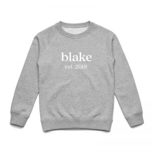Coda Design Studio - Personalised Clothing for the Whole Family - Kids Jumper Grey Marle Classic Name Est Year Born