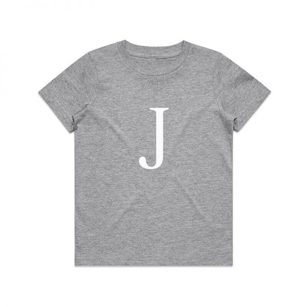 Coda Design Studio - Personalised Clothing for the Whole Family - Kids Tee Grey Marle Letter Name