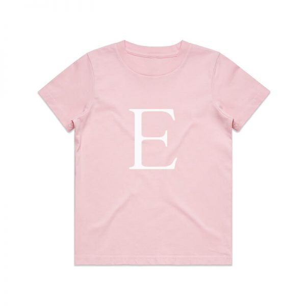 Coda Design Studio - Personalised Clothing for the Whole Family - Kids Tee Pink Letter Name