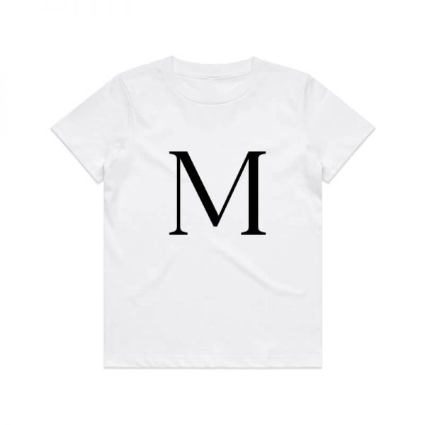Coda Design Studio - Personalised Clothing for the Whole Family - Kids Tee White Letter Name