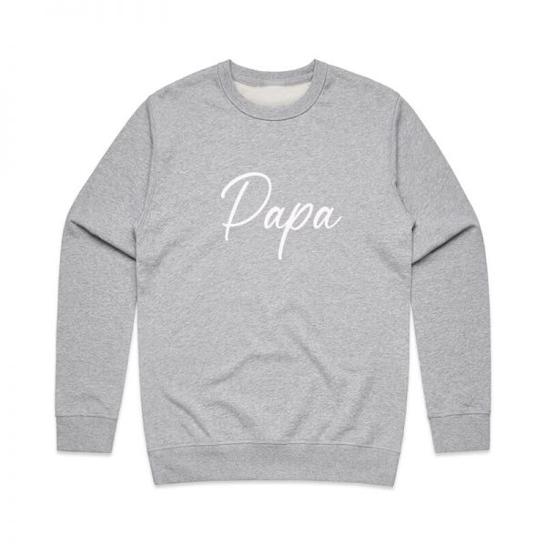 Coda Design Studio - Personalised Clothing for the Whole Family - Mens Jumper Grey Script Papa