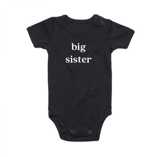 Coda Design Studio - Personalised Clothing for the Whole Family - Baby Onesie Black Big Sister