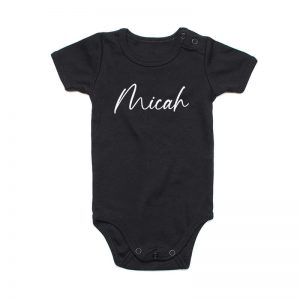 Coda Design Studio - Personalised Clothing for the Whole Family - Baby Onesie Black Script Name