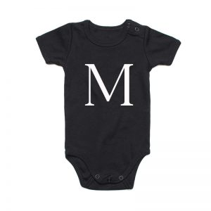 Coda Design Studio - Personalised Clothing for the Whole Family - Baby Onesie Black Letter Name