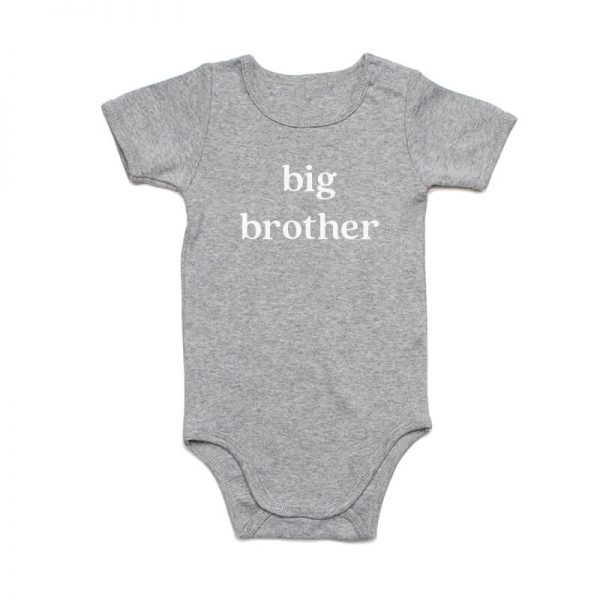 Coda Design Studio - Personalised Clothing for the Whole Family - Baby Onesie Grey Marle Big Brother