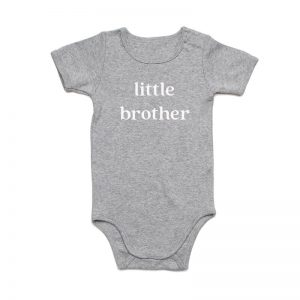 Coda Design Studio - Personalised Clothing for the Whole Family - Baby Onesie Grey Marle Little Brother