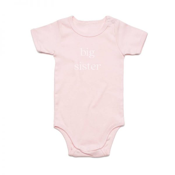 Coda Design Studio - Personalised Clothing for the Whole Family - Baby Onesie Pink Big Sister