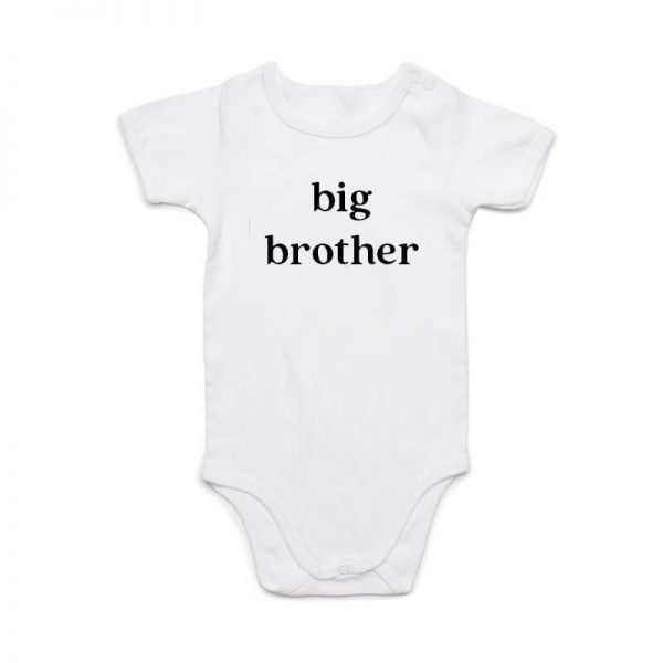 Coda Design Studio - Personalised Clothing for the Whole Family - Baby Onesie White Big Brother