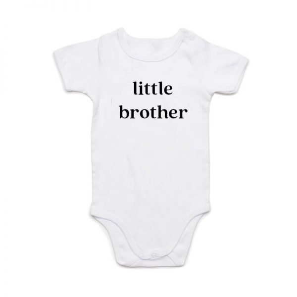 Coda Design Studio - Personalised Clothing for the Whole Family - Baby Onesie White Little Brother
