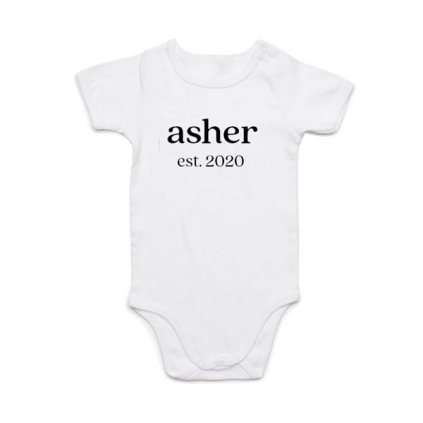 Coda Design Studio - Personalised Clothing for the Whole Family - Baby Onesie White Classic Name Est Year Born