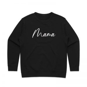 Coda Design Studio - Personalised Clothing for the Whole Family - Womens Jumper Black Script Mama