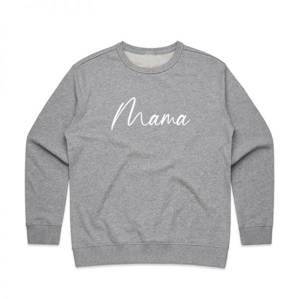 Coda Design Studio - Personalised Clothing for the Whole Family - Womens Jumper Grey Marle Script Mama