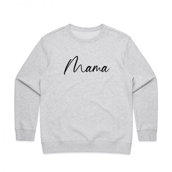 Coda Design Studio - Personalised Clothing for the Whole Family - Womens Jumper White Marle Script Mama