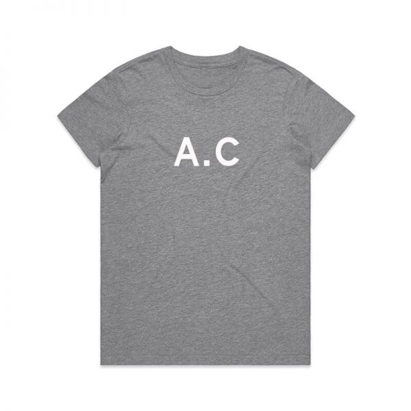 Coda Design Studio - Personalised Clothing for the Whole Family - Womens Tee Grey Marle Initial Name