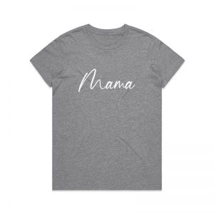 Coda Design Studio - Personalised Clothing for the Whole Family - Womens Tee Grey Marle Script Mama