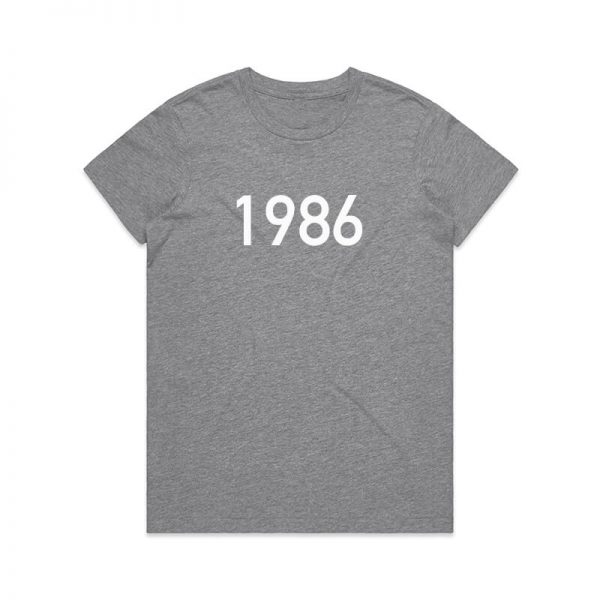 Coda Design Studio - Personalised Clothing for the Whole Family - Womens Tee Grey Marle Year Born