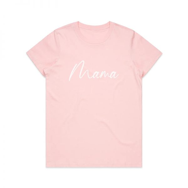 Coda Design Studio - Personalised Clothing for the Whole Family - Womens Tee Pink Script Mama